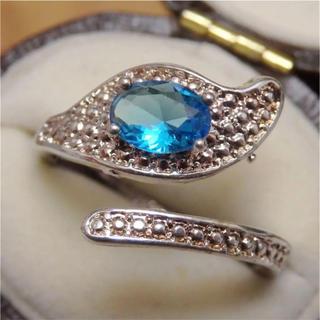 即購入OK♡ライトブルーのシルバーリング指輪ゴージャス大きいサイズ(リング(指輪))