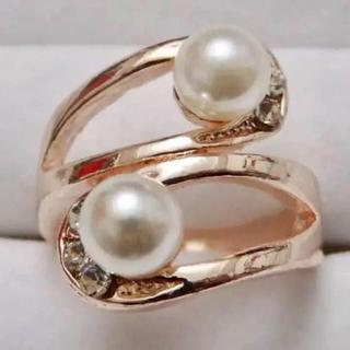 即購入OK*訳ありパールとラインストーンのピンクゴールド指輪大きいサイズ(リング(指輪))