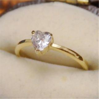 ハートモチーフ一粒czダイヤモンドゴールドカラーリング指輪ピンキーリング (リング(指輪))
