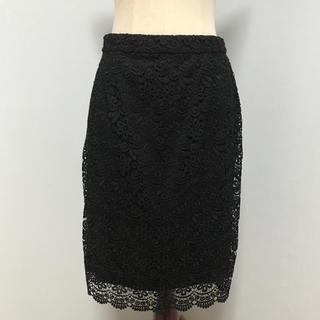 ユニクロ(UNIQLO)のユニクロ レースタイトスカート 黒(ひざ丈スカート)