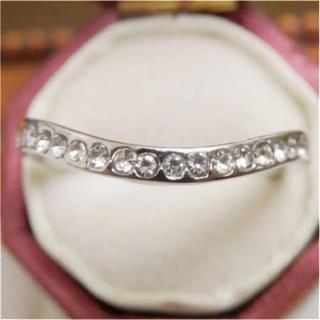 シンプルなラインストーンのV字シルバーリング指輪大きいサイズ(リング(指輪))