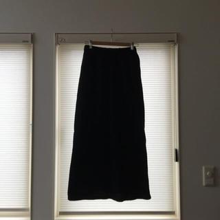 ゴム(gomme)のウールの黒ロングスカート(ロングスカート)