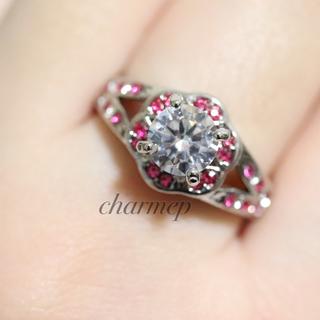 ピンクストーンのフラワーデザインシルバーカラーリング指輪大きいサイズ(リング(指輪))