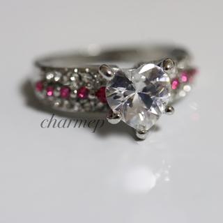 ピンクストーンのハートデザインシルバーカラーリング指輪大きいサイズ(リング(指輪))