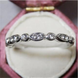 シンプルなラインストーンのシルバーカラーリング指輪大きいサイズ(リング(指輪))