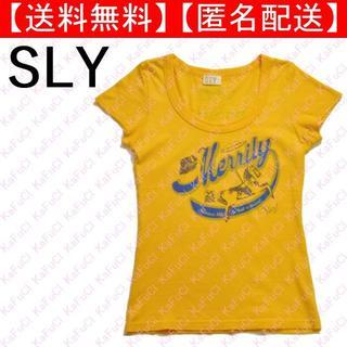 スライ(SLY)のSLY 半袖 Tシャツ レトロ ロゴ プリント スライ Uネック 黄色 オレンジ(Tシャツ(半袖/袖なし))
