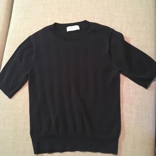 オペークドットクリップ(OPAQUE.CLIP)の五分丈 黒ニット(ニット/セーター)