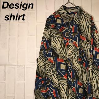 【一点物】古着 長袖シャツ 総柄シャツ 好デザイン 胸ポケット(シャツ)