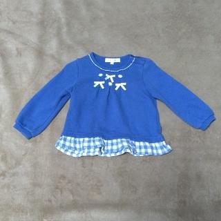 サンカンシオン(3can4on)のキッズトレーナー ブルー リボン サンカンシオン サイズ90(Tシャツ/カットソー)