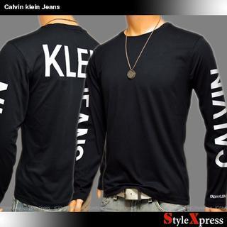 カルバンクライン(Calvin Klein)の新品 カルバンクラインジーンズ 黒 XL 背中ロゴ 袖ロゴ ロンT CK(Tシャツ/カットソー(七分/長袖))