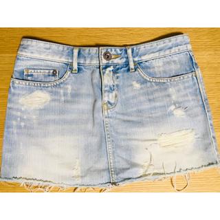 ルシェルブルー(LE CIEL BLEU)のダメージデニムミニスカート36 ホワイト(ミニスカート)