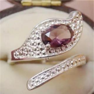 即購入OK♡V031紫のお石パープルストーンシルバーリング指輪(リング(指輪))