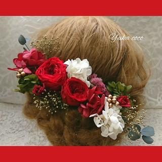 ⭕️速達⭕️真っ赤なバラのドライフラワー ヘッドドレス❁¨̮(ヘッドドレス/ドレス)