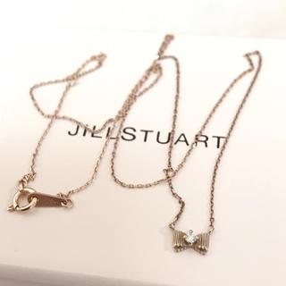 ジルスチュアート(JILLSTUART)のジルスチュアート k10 YG ダイヤモンドリボン ネックレス アガットete(ネックレス)