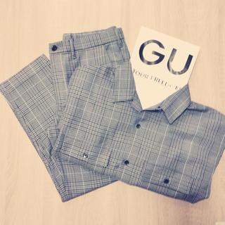 ジーユー(GU)のセットアップ オープンカラーシャツ/イージーアンクルパンツ グレンチェック(セットアップ)