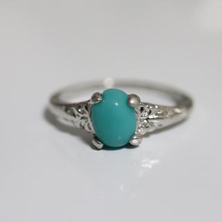 即購入OK*ターコイズのようなシルバーカラーリング指輪大きいサイズ(リング(指輪))