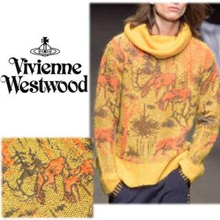 ヴィヴィアンウエストウッド(Vivienne Westwood)の《ヴィヴィアンウエストウッド》新品 鹿柄 タートルネック セーター イエロー S(ニット/セーター)