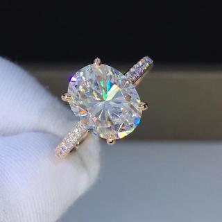 【newデザイン】オーバルシェイプ モアサナイト ダイヤモンド リング(リング(指輪))