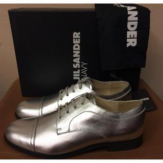 ジルサンダー(Jil Sander)の定価5万程 ジルサンダー ネイビー レザーシューズ シルバー ラバーソール (ローファー/革靴)