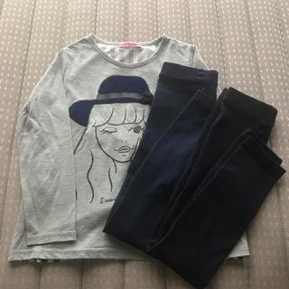 シマムラ(しまむら)のバースディ購入130cm長袖プリントカットソー&紺色レギンス2枚女の子秋冬服(Tシャツ/カットソー)