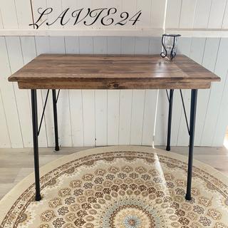 オーダー可 アイアン脚 テーブル C パソコン台 作業台 板張り アンティーク (家具)
