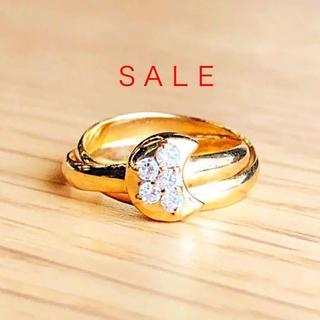 トクトクジュエリー K18 ダイヤモンド 月形 2連 リング(リング(指輪))