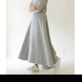 マディソンブルー(MADISONBLUE)の1度着のみ 美品 マディソンブルー ウールミモレフレアスカート グレー(ロングスカート)
