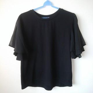レプシィム(LEPSIM)のLEPSIM 袖シフォンTシャツ ブラック(Tシャツ(半袖/袖なし))