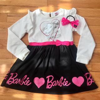 バービー(Barbie)の美品 バービー ワンピース 110 リボンのオマケ付き 100 110 120(ワンピース)
