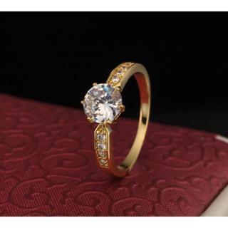 18金イエローゴールドフィルド ウエディング ダイヤモンドCz リング 16号(リング(指輪))