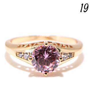 P16 リング 19号 人工石 ラウンド ピンクサファイア 大きいサイズ(リング(指輪))