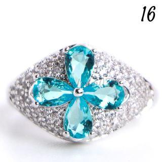 G15 リング 16号 人工石 ブルートパーズ フラワー パヴェ(リング(指輪))