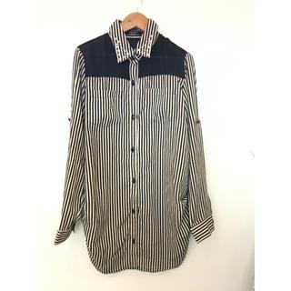 襟ストーン付き ストライプシャツ #Cattleya109(シャツ/ブラウス(長袖/七分))