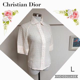 クリスチャンディオール(Christian Dior)のクリスチャンディオールのレトロなブラウスシャツ(L)(シャツ/ブラウス(半袖/袖なし))