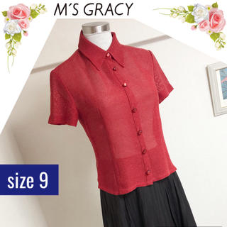 エムズグレイシー(M'S GRACY)のエムズ グレイシーの透け感のあるシャツ(サイズ9)(シャツ/ブラウス(半袖/袖なし))
