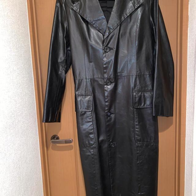 KATHARINE HAMNETT(キャサリンハムネット)のキャサリンハムネット   レザー ロング チェスターコート Mサイズ 黒 メンズのジャケット/アウター(チェスターコート)の商品写真