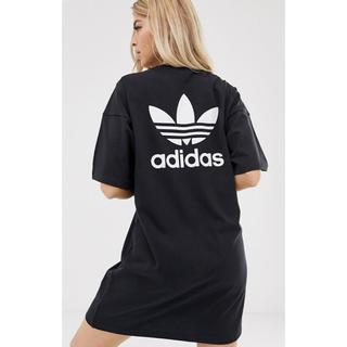 アディダス(adidas)の【Lサイズ】新品未使用 adidas アディダス ミニ ロゴ Tシャツ ドレス(ミニワンピース)