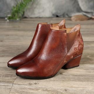 太ヒールブーツ 花柄刺繍ブーツ とんがりトゥブーツ  (ブーツ)