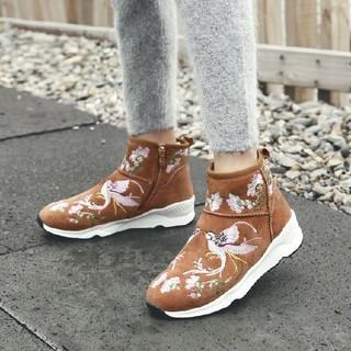 女性用ムートンブーツ 黒 ブラウン 冬靴 サイドジッパー  (ブーツ)