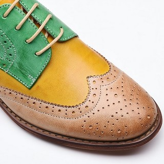 カラーブロック フラットシューズ ウィングチップ 本革 羊革  (ローファー/革靴)