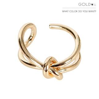 【新品】メタリックゴールドの結びデザインリング(リング(指輪))