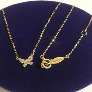 アーカー(AHKAH)の美品 アーカー k18 YG バタフライパヴェ ネックレス 🦋 18金 ダイヤ(ネックレス)