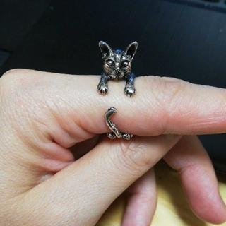 猫の姿の指輪☆レディース☆キャットリング(リング(指輪))