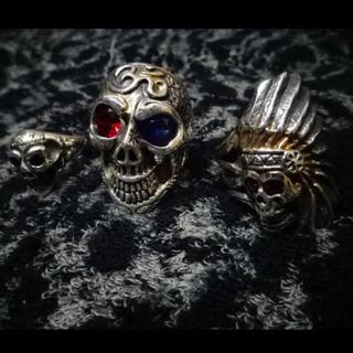 ビルウォールレザー(BILL WALL LEATHER)の超レア・カスタム品!!(定価170500)BWL・インディアンスカルリング(リング(指輪))
