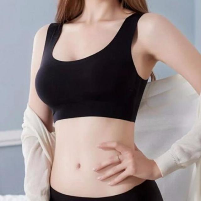 在庫限りセール☆ダイエット応援♪ Lサイズ シームレス ハーフトップブラ 黒 レディースの下着/アンダーウェア(ブラ)の商品写真
