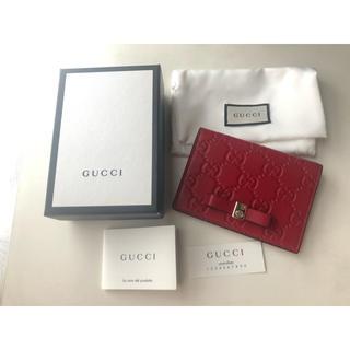 Gucci - 【GUCCI/グッチ】パスケース/名刺入れ/赤/リボン/箱付き/超美品/正規品