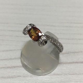 オレンジゴールドカラー サファイア プラチナリング 10号 PT900(リング(指輪))