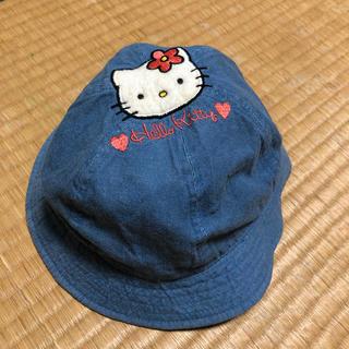 ハローキティ(ハローキティ)のまりんば様専用女の子 デニム生地 キティーちゃん帽子52センチ(帽子)