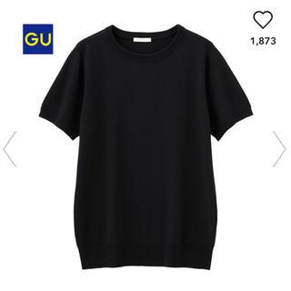 ジーユー(GU)のGU 黒 クルーネックセーター(半袖)※サイズXS(カットソー(半袖/袖なし))