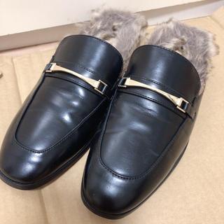 ジーユー(GU)のGU ジーユー フェイクファーローファースリッパ 革靴 ブラック XL(ローファー/革靴)